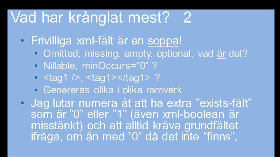 Vad har krånglat mest? 2 •Frivilliga xml-fält är en soppa! •Omitted, missing, empty, optional, vad är det? •Nillable, minOccurs=