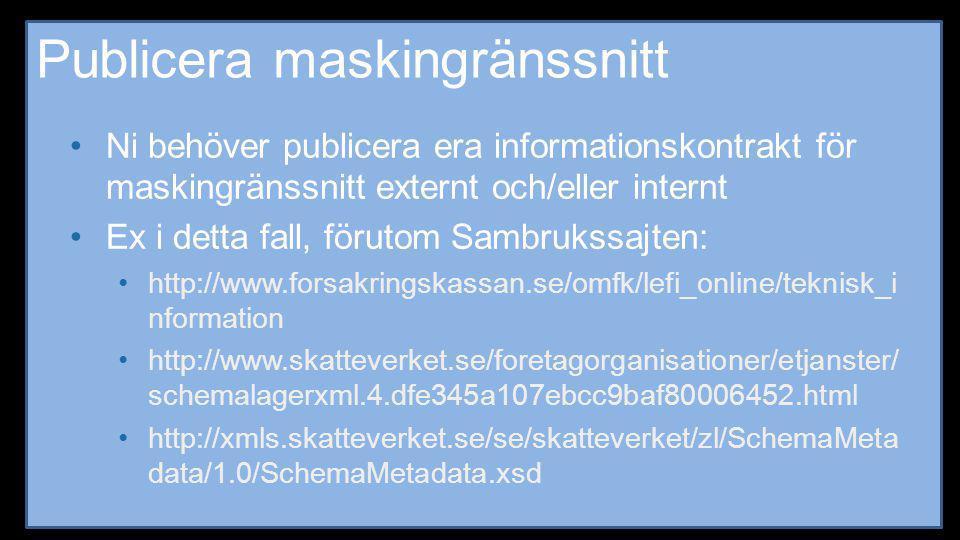 Publicera maskingränssnitt •Ni behöver publicera era informationskontrakt för maskingränssnitt externt och/eller internt •Ex i detta fall, förutom Sam