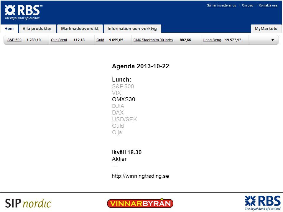 Agenda 2013-10-22 Lunch: S&P 500 VIX OMXS30 DJIA DAX USD/SEK Guld Olja Ikväll 18.30 Aktier … http://winningtrading.se