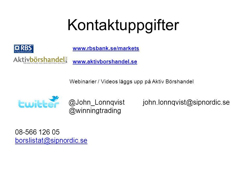 Kontaktuppgifter RBS www.rbsbank.se/marketswww.rbsbank.se/markets www.aktivborshandel.se Webinarier / Videos läggs upp på Aktiv Börshandel @John_Lonnqvist john.lonnqvist@sipnordic.se @winningtrading 08-566 126 05 borslistat@sipnordic.se
