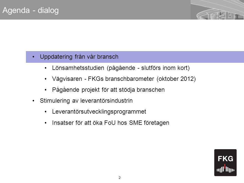 2 Agenda - dialog •Uppdatering från vår bransch •Lönsamhetsstudien (pågående - slutförs inom kort) •Vägvisaren - FKGs branschbarometer (oktober 2012)