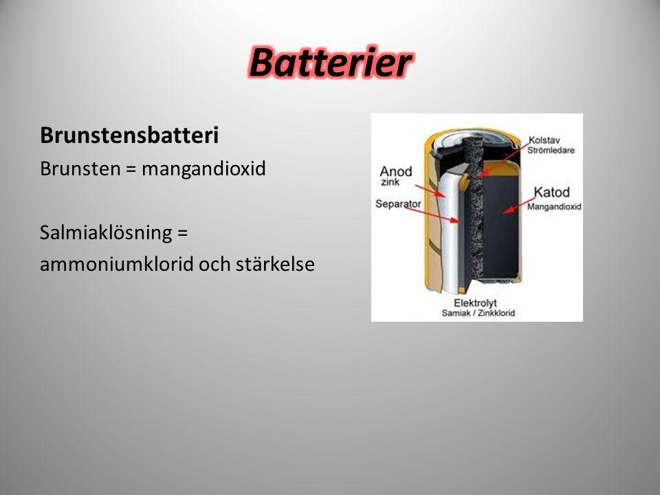 Brunstensbatteri Brunsten = mangandioxid Salmiaklösning = ammoniumklorid och stärkelse