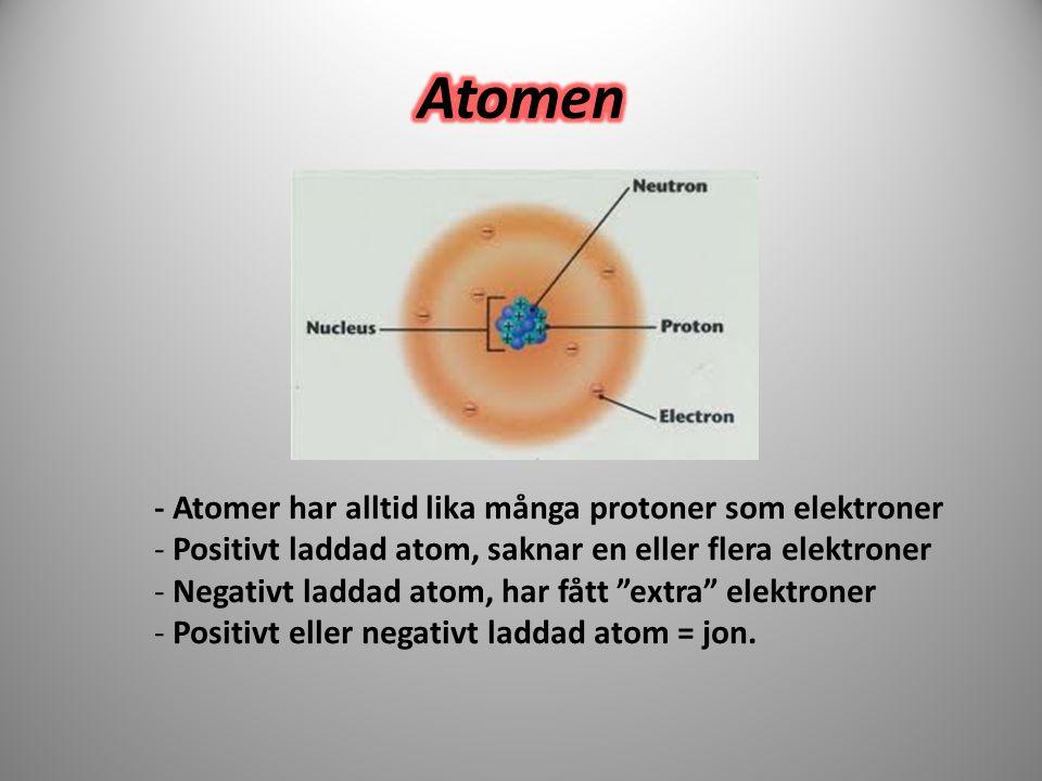 """- Atomer har alltid lika många protoner som elektroner - Positivt laddad atom, saknar en eller flera elektroner - Negativt laddad atom, har fått """"extr"""