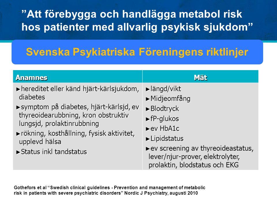 """""""Att förebygga och handlägga metabol risk hos patienter med allvarlig psykisk sjukdom"""" Gothefors et al """"Swedish clinical guidelines - Prevention and m"""