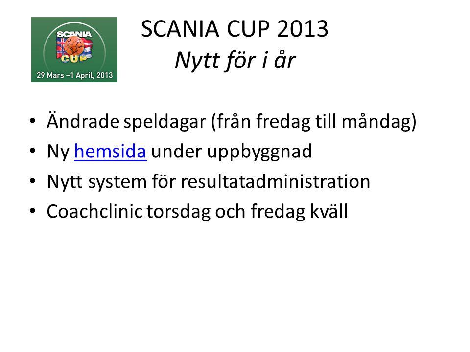 SCANIA CUP 2013 Nytt för i år • Ändrade speldagar (från fredag till måndag) • Ny hemsida under uppbyggnadhemsida • Nytt system för resultatadministration • Coachclinic torsdag och fredag kväll