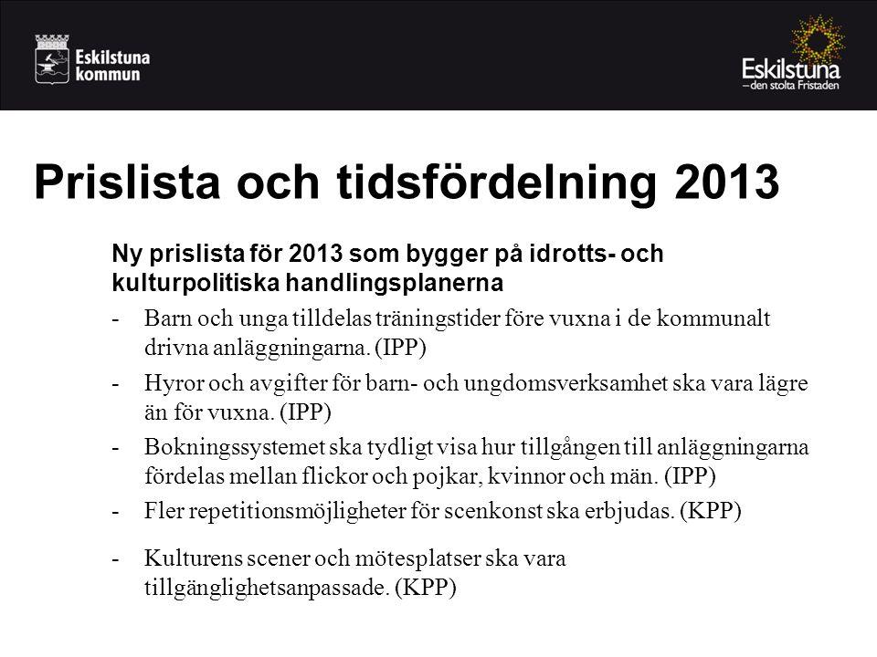 Ny prislista för 2013 som bygger på idrotts- och kulturpolitiska handlingsplanerna -Barn och unga tilldelas träningstider före vuxna i de kommunalt drivna anläggningarna.