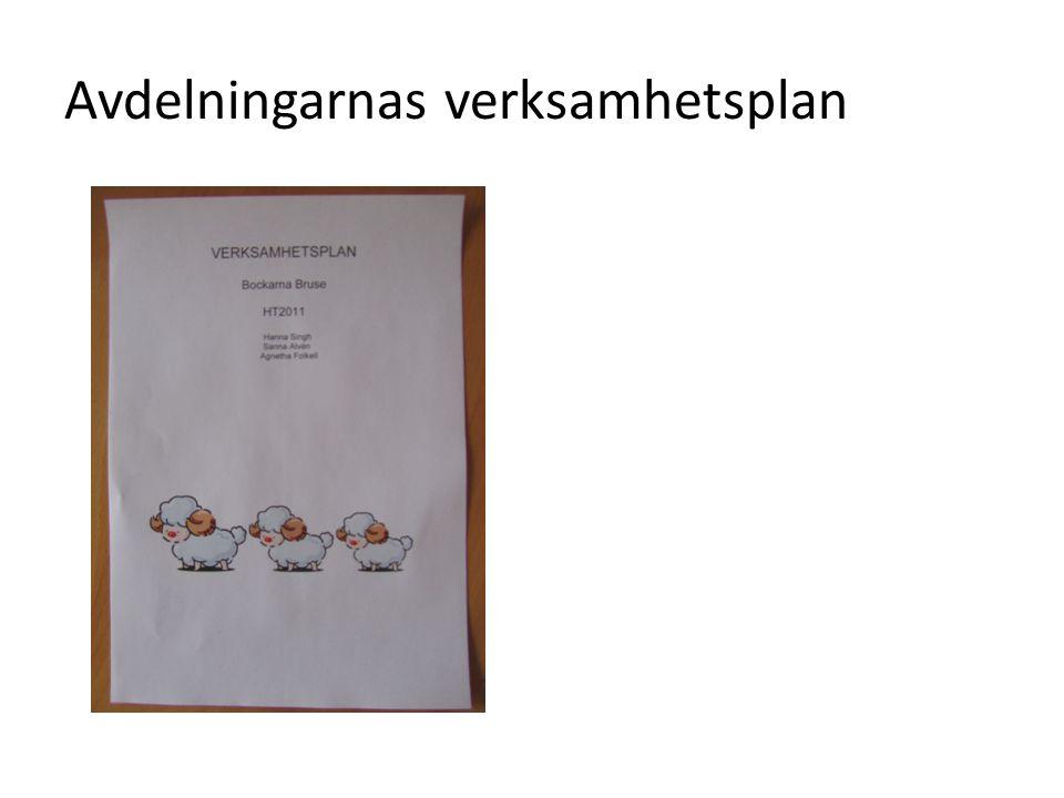 Avdelningarnas verksamhetsplaner är uppbyggda efter läroplanens rubriker: • Normer och värden • Utveckling och lärande • Barns inflytande • Förskola och hem • Samverkan med förskoleklassen, skolan och fritidshemmet • Uppföljning, utvärdering och utveckling