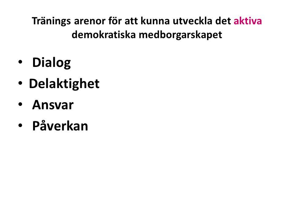 Tränings arenor för att kunna utveckla det aktiva demokratiska medborgarskapet • Dialog • Delaktighet • Ansvar • Påverkan