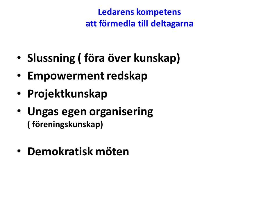 Ledarens kompetens att förmedla till deltagarna • Slussning ( föra över kunskap) • Empowerment redskap • Projektkunskap • Ungas egen organisering ( fö