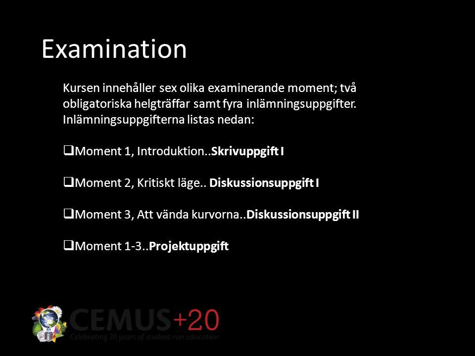 Examination Kursen innehåller sex olika examinerande moment; två obligatoriska helgträffar samt fyra inlämningsuppgifter.