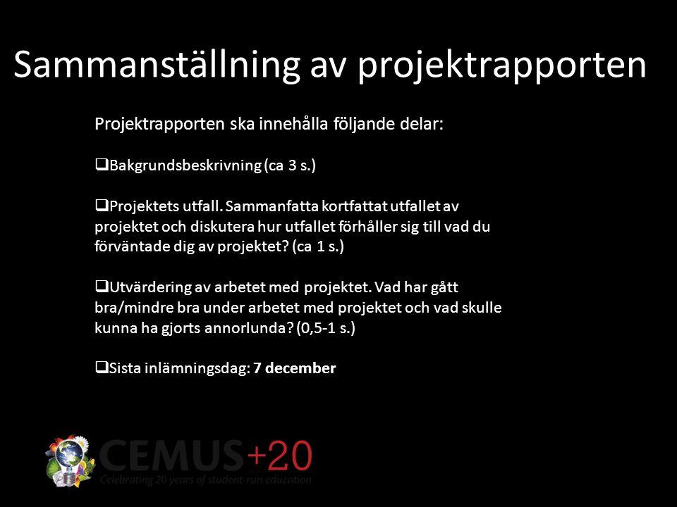 Sammanställning av projektrapporten Projektrapporten ska innehålla följande delar:  Bakgrundsbeskrivning (ca 3 s.)  Projektets utfall.
