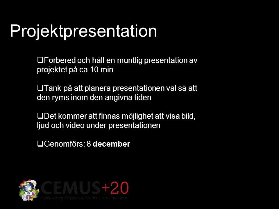 Projektpresentation  Förbered och håll en muntlig presentation av projektet på ca 10 min  Tänk på att planera presentationen väl så att den ryms inom den angivna tiden  Det kommer att finnas möjlighet att visa bild, ljud och video under presentationen  Genomförs: 8 december