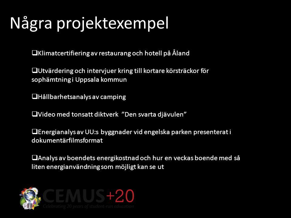 Några projektexempel  Klimatcertifiering av restaurang och hotell på Åland  Utvärdering och intervjuer kring till kortare körsträckor för sophämtning i Uppsala kommun  Hållbarhetsanalys av camping  Video med tonsatt diktverk Den svarta djävulen  Energianalys av UU:s byggnader vid engelska parken presenterat i dokumentärfilmsformat  Analys av boendets energikostnad och hur en veckas boende med så liten energianvändning som möjligt kan se ut