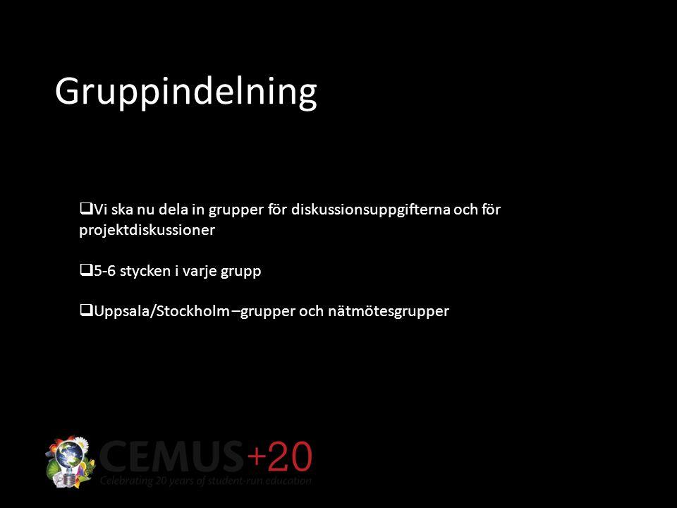 Gruppindelning  Vi ska nu dela in grupper för diskussionsuppgifterna och för projektdiskussioner  5-6 stycken i varje grupp  Uppsala/Stockholm –grupper och nätmötesgrupper