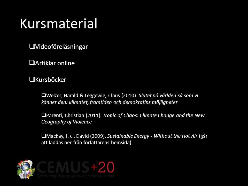 Kursmaterial  Videoföreläsningar  Artiklar online  Kursböcker  Welzer, Harald & Leggewie, Claus (2010).