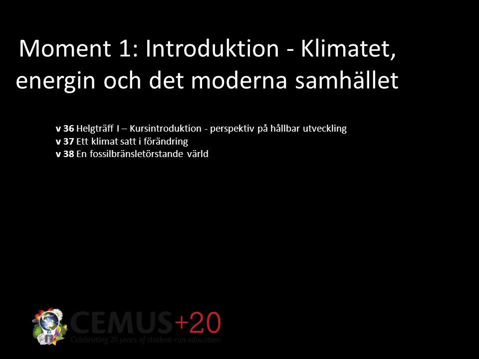 Moment 1: Introduktion - Klimatet, energin och det moderna samhället v 36 Helgträff I – Kursintroduktion - perspektiv på hållbar utveckling v 37 Ett klimat satt i förändring v 38 En fossilbränsletörstande värld