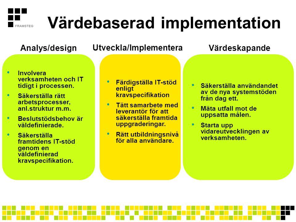 Värdebaserad implementation • Involvera verksamheten och IT tidigt i processen. • Säkerställa rätt arbetsprocesser, anl.struktur m.m. • Beslutstödsbeh