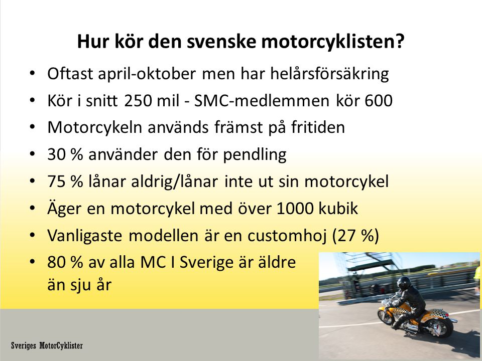 Hur kör den svenske motorcyklisten.