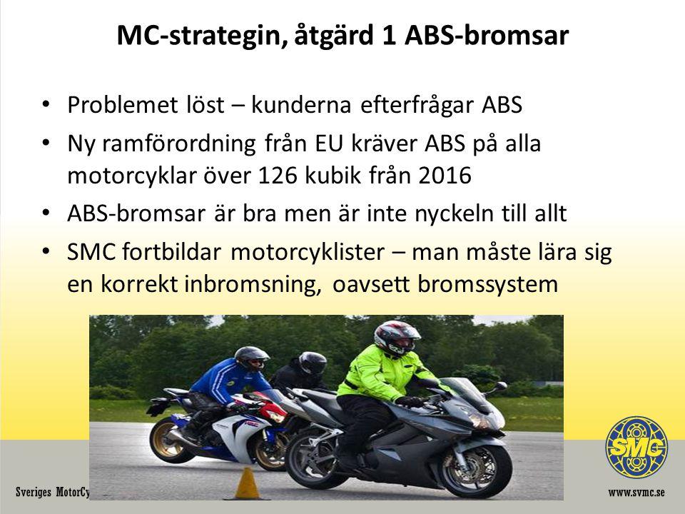 MC-strategin, åtgärd 1 ABS-bromsar • Problemet löst – kunderna efterfrågar ABS • Ny ramförordning från EU kräver ABS på alla motorcyklar över 126 kubik från 2016 • ABS-bromsar är bra men är inte nyckeln till allt • SMC fortbildar motorcyklister – man måste lära sig en korrekt inbromsning, oavsett bromssystem
