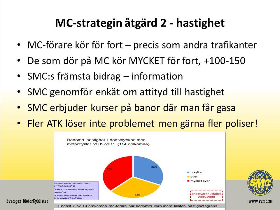 MC-strategin åtgärd 2 - hastighet • MC-förare kör för fort – precis som andra trafikanter • De som dör på MC kör MYCKET för fort, +100-150 • SMC:s främsta bidrag – information • SMC genomför enkät om attityd till hastighet • SMC erbjuder kurser på banor där man får gasa • Fler ATK löser inte problemet men gärna fler poliser!