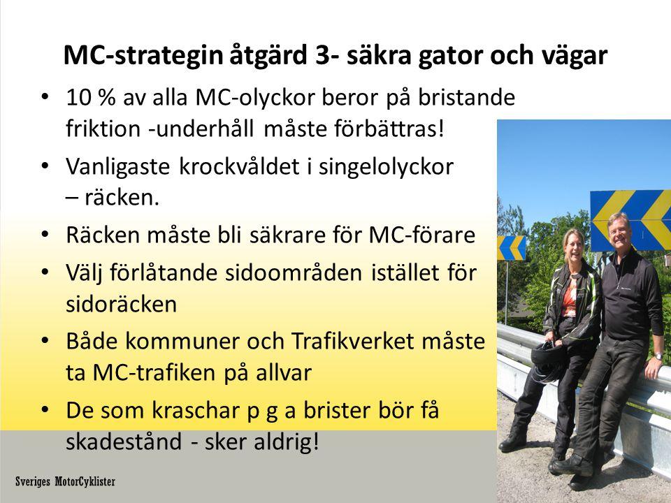 MC-strategin åtgärd 3- säkra gator och vägar • 10 % av alla MC-olyckor beror på bristande friktion -underhåll måste förbättras.