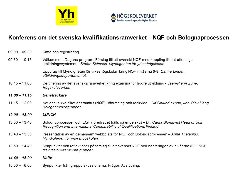 yhmyndigheten.se Konferens om det svenska kvalifikationsramverket – NQF och Bolognaprocessen 09.00 – 09.30Kaffe och registrering 09.30 – 10.15 Välkommen.