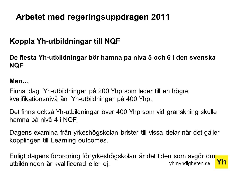 yhmyndigheten.se Koppla Yh-utbildningar till NQF De flesta Yh-utbildningar bör hamna på nivå 5 och 6 i den svenska NQF Men… Finns idag Yh-utbildningar på 200 Yhp som leder till en högre kvalifikationsnivå än Yh-utbildningar på 400 Yhp.