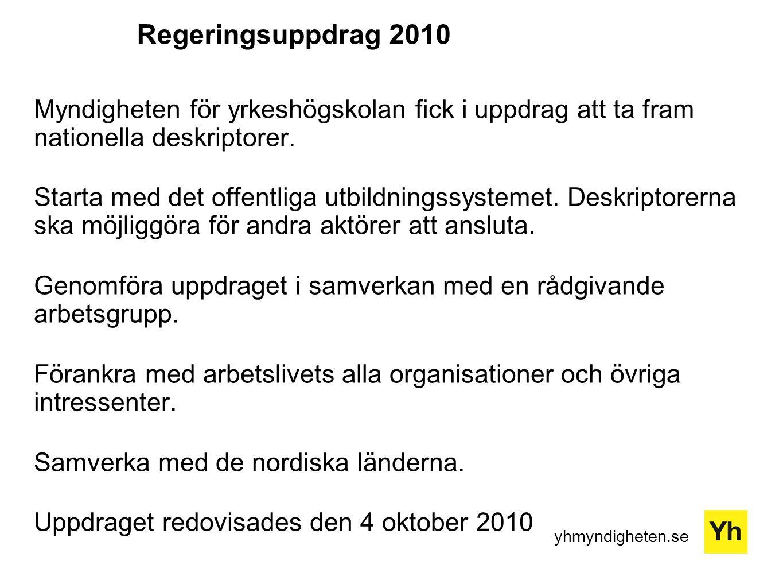 yhmyndigheten.se Regeringsuppdrag 2010 Myndigheten för yrkeshögskolan fick i uppdrag att ta fram nationella deskriptorer.