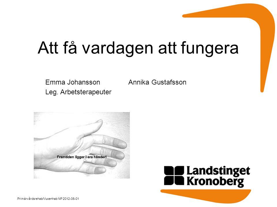 Att få vardagen att fungera Emma JohanssonAnnika Gustafsson Leg. Arbetsterapeuter Primärvårdsrehab/Vuxenhab NP 2012-06-01