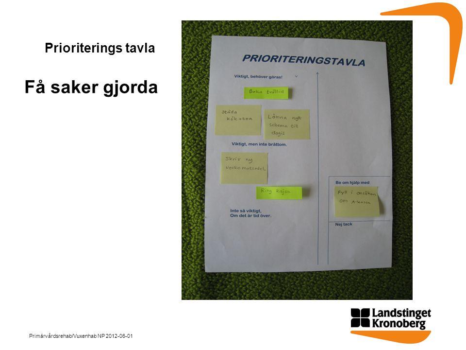 Prioriterings tavla Få saker gjorda Primärvårdsrehab/Vuxenhab NP 2012-06-01