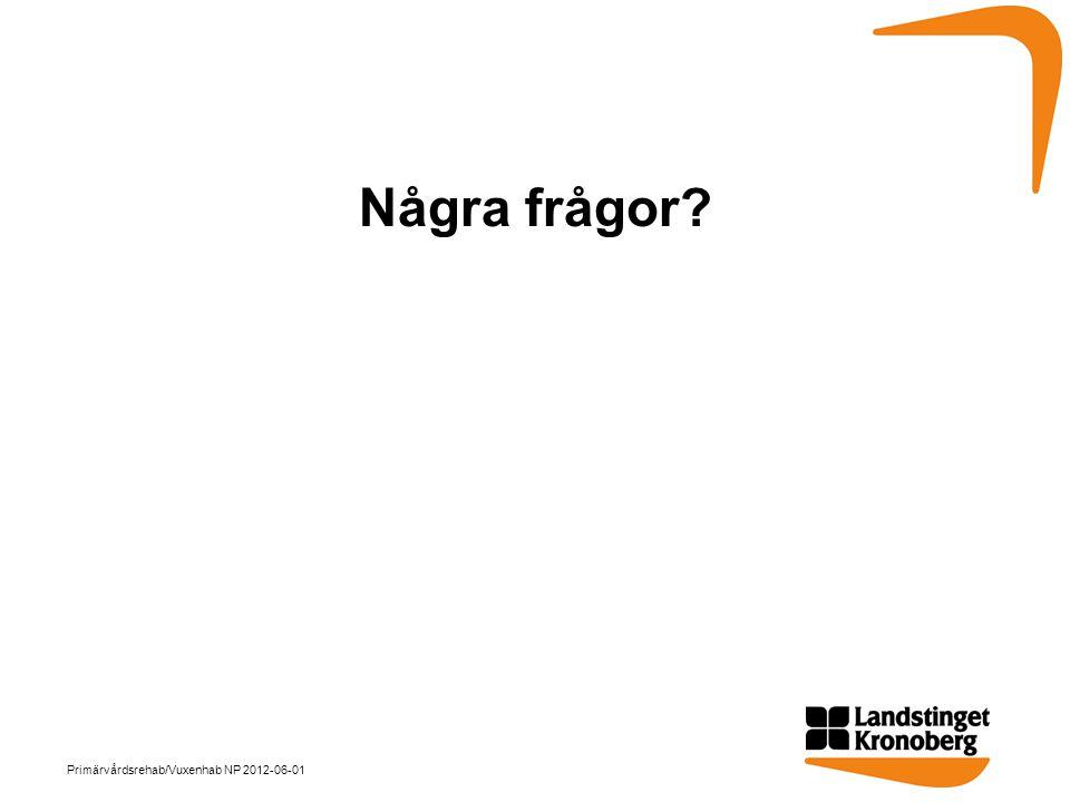 Några frågor? Primärvårdsrehab/Vuxenhab NP 2012-06-01