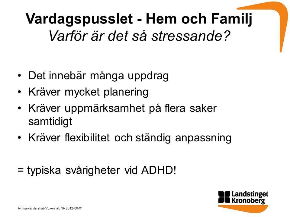 Vardagspusslet - Hem och Familj Varför är det så stressande? •Det innebär många uppdrag •Kräver mycket planering •Kräver uppmärksamhet på flera saker