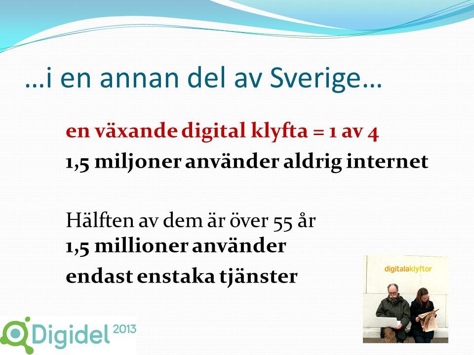 …i en annan del av Sverige… en växande digital klyfta = 1 av 4 1,5 miljoner använder aldrig internet Hälften av dem är över 55 år 1,5 millioner använder endast enstaka tjänster 