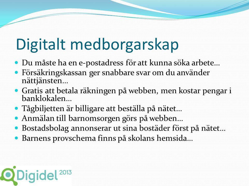 Strategi 6  Digital delaktighet  Den digitala informationshanteringen har skapat stora möjligheter men det finns grupper i samhället som delvis står utanför denna förändring.