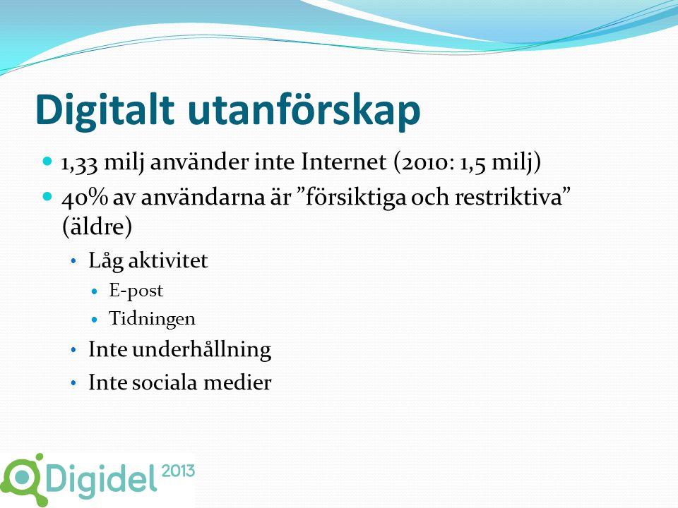 Digitalt utanförskap  1,33 milj använder inte Internet (2010: 1,5 milj)  40% av användarna är försiktiga och restriktiva (äldre) • Låg aktivitet  E-post  Tidningen • Inte underhållning • Inte sociala medier