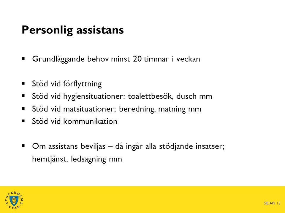 Personlig assistans  Grundläggande behov minst 20 timmar i veckan  Stöd vid förflyttning  Stöd vid hygiensituationer: toalettbesök, dusch mm  Stöd