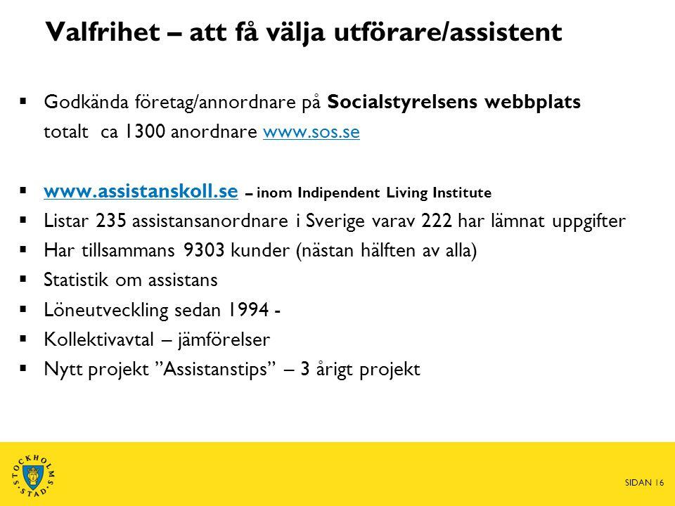 Valfrihet – att få välja utförare/assistent  Godkända företag/annordnare på Socialstyrelsens webbplats totalt ca 1300 anordnare www.sos.sewww.sos.se