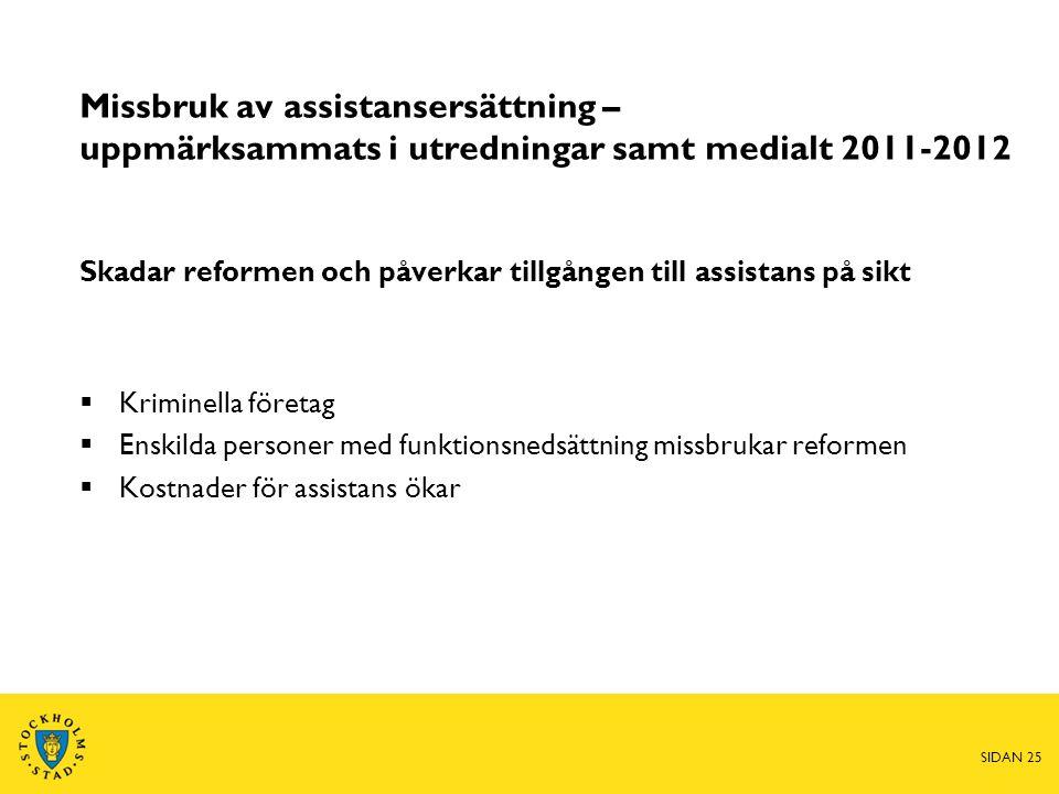 Missbruk av assistansersättning – uppmärksammats i utredningar samt medialt 2011-2012 Skadar reformen och påverkar tillgången till assistans på sikt 