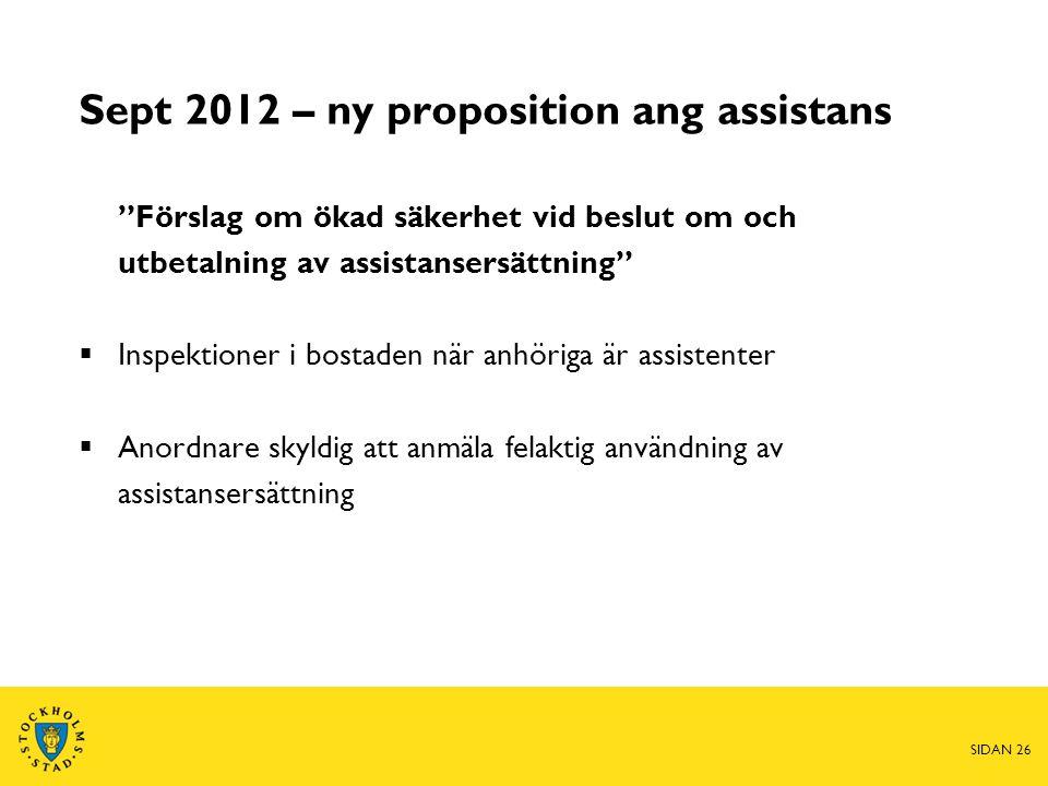 """Sept 2012 – ny proposition ang assistans """"Förslag om ökad säkerhet vid beslut om och utbetalning av assistansersättning""""  Inspektioner i bostaden när"""