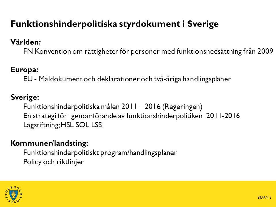 Funktionshinderpolitiska styrdokument i Sverige Världen: FN Konvention om rättigheter för personer med funktionsnedsättning från 2009 Europa: EU - Mål