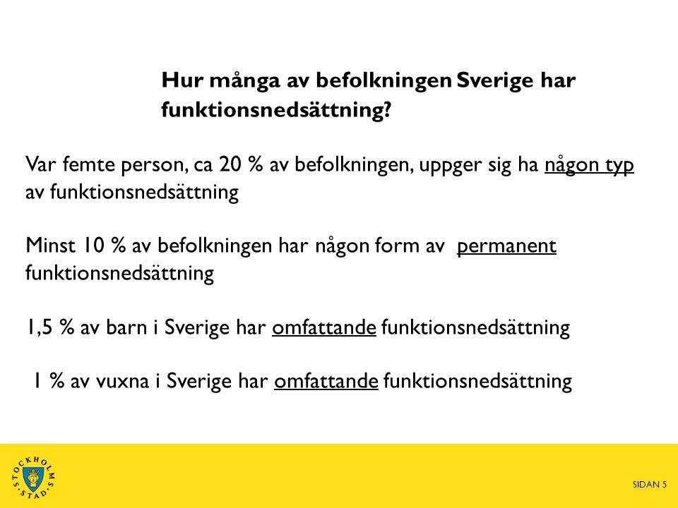 Hur många av befolkningen Sverige har funktionsnedsättning? Var femte person, ca 20 % av befolkningen, uppger sig ha någon typ av funktionsnedsättning