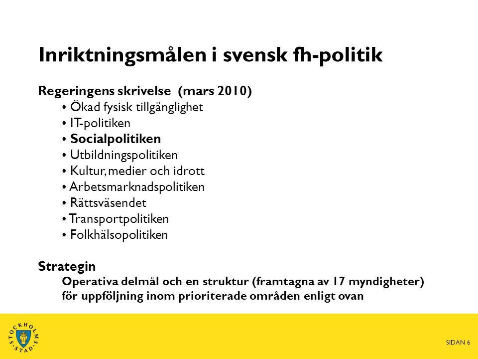 SIDAN 6 Inriktningsmålen i svensk fh-politik Regeringens skrivelse (mars 2010) • Ökad fysisk tillgänglighet • IT-politiken • Socialpolitiken • Utbildn