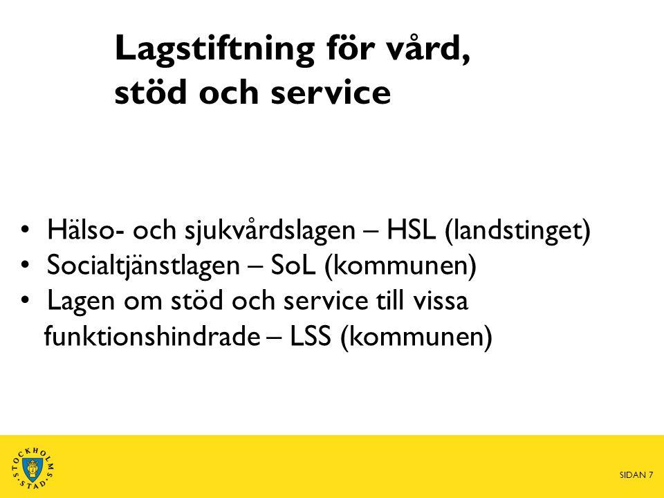 Lagstiftning för vård, stöd och service • Hälso- och sjukvårdslagen – HSL (landstinget) • Socialtjänstlagen – SoL (kommunen) • Lagen om stöd och servi