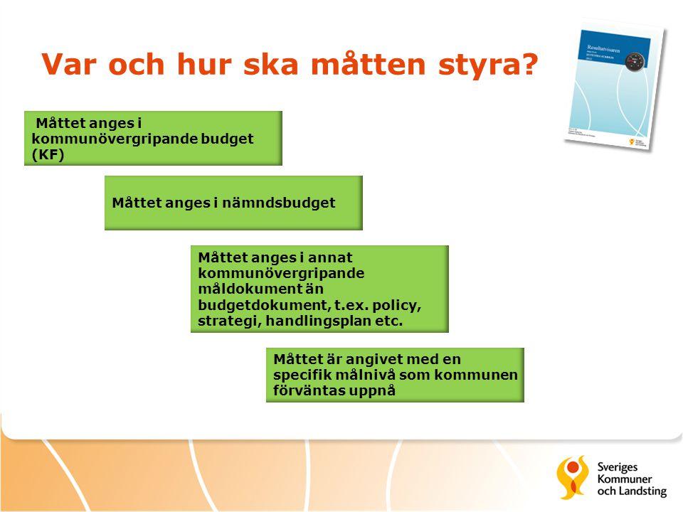 Var och hur ska måtten styra? Måttet anges i kommunövergripande budget (KF) Måttet anges i nämndsbudget Måttet anges i annat kommunövergripande måldok