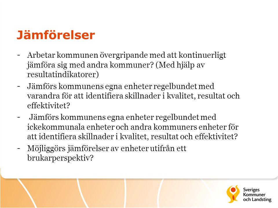 Jämförelser - Arbetar kommunen övergripande med att kontinuerligt jämföra sig med andra kommuner? (Med hjälp av resultatindikatorer) - Jämförs kommune