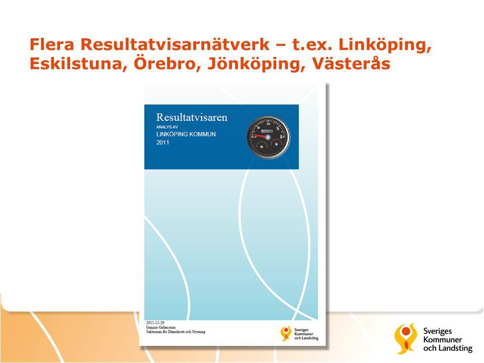Flera Resultatvisarnätverk – t.ex. Linköping, Eskilstuna, Örebro, Jönköping, Västerås