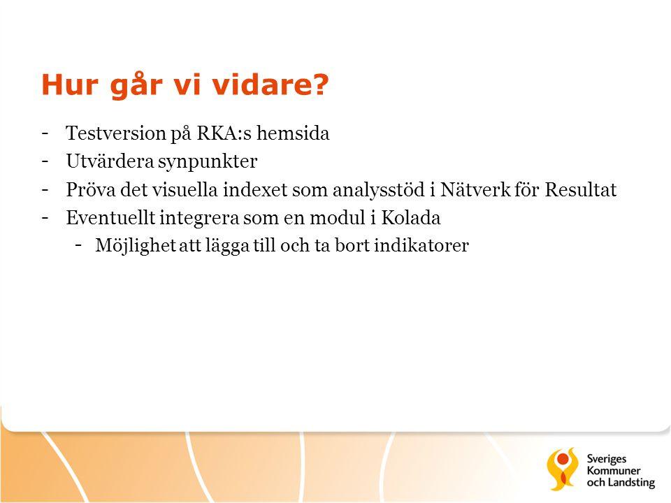 Hur går vi vidare? - Testversion på RKA:s hemsida - Utvärdera synpunkter - Pröva det visuella indexet som analysstöd i Nätverk för Resultat - Eventuel