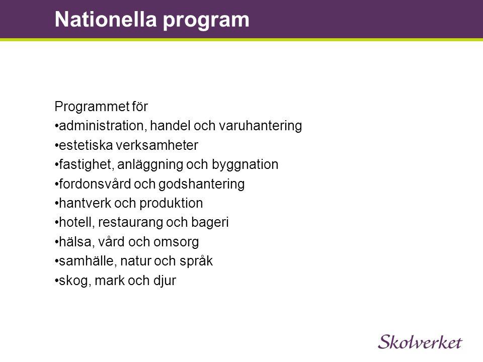 Programmet för •administration, handel och varuhantering •estetiska verksamheter •fastighet, anläggning och byggnation •fordonsvård och godshantering