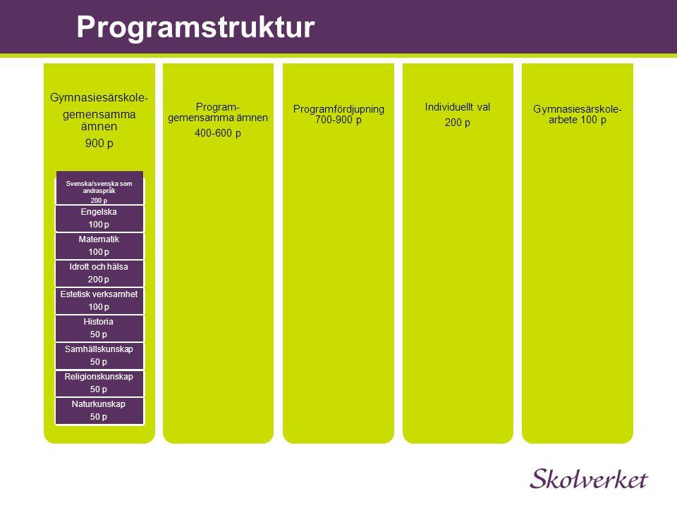 Programstruktur Gymnasiesärskole- gemensamma ämnen 900 p Svenska/svenska som andraspråk 200 p Engelska 100 p Matematik 100 p Idrott och hälsa 200 p Es