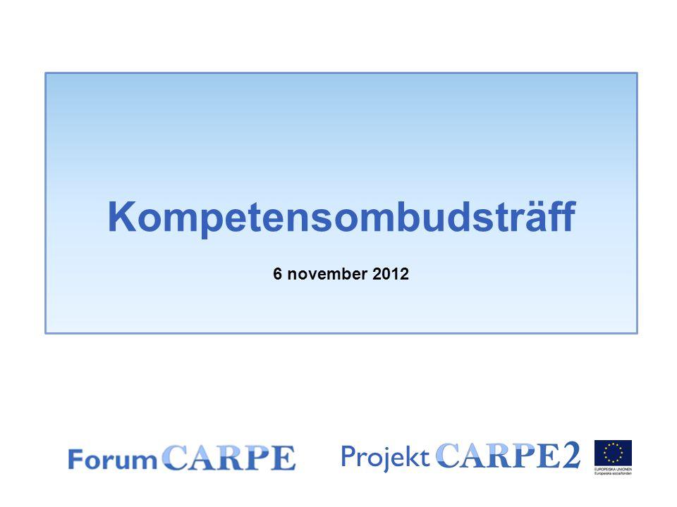 Projekt Kompetensombudsträff 6 november 2012